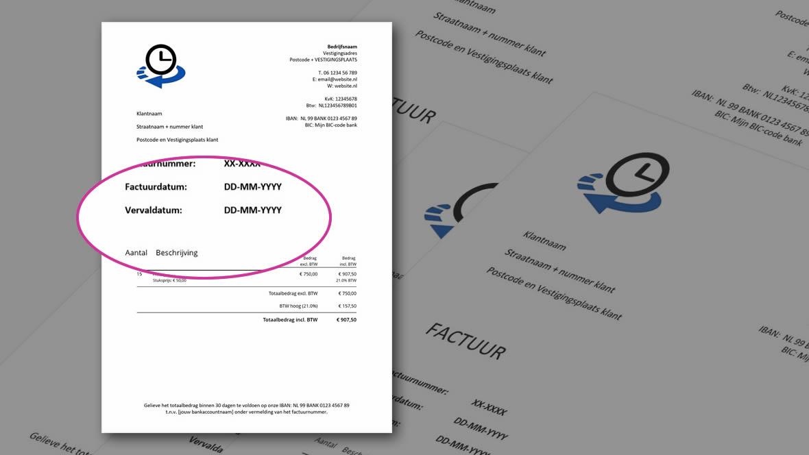 Vervaldatum als betalingstermijn op factuur