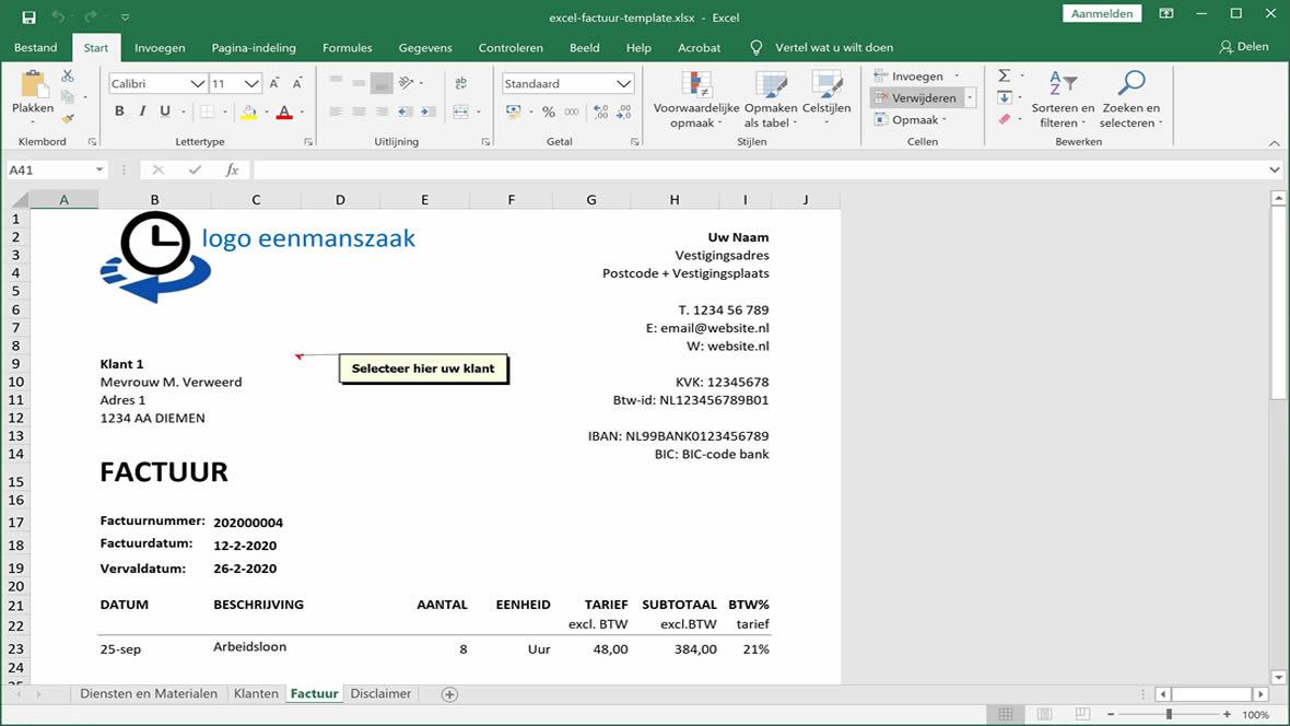 Voorbeeld template van Excel nota opstellen