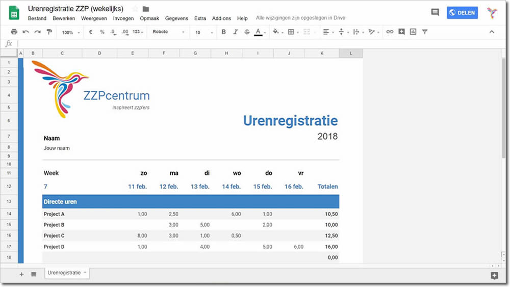 Gratis urenverantwoording met Google Spreadsheets