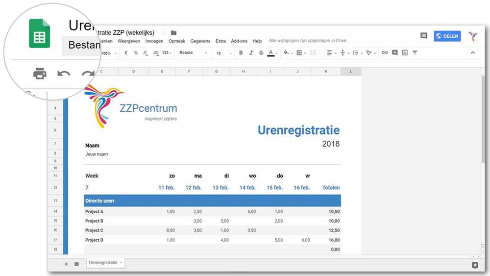 Zzp urenverantwoording in Google Spreadsheets