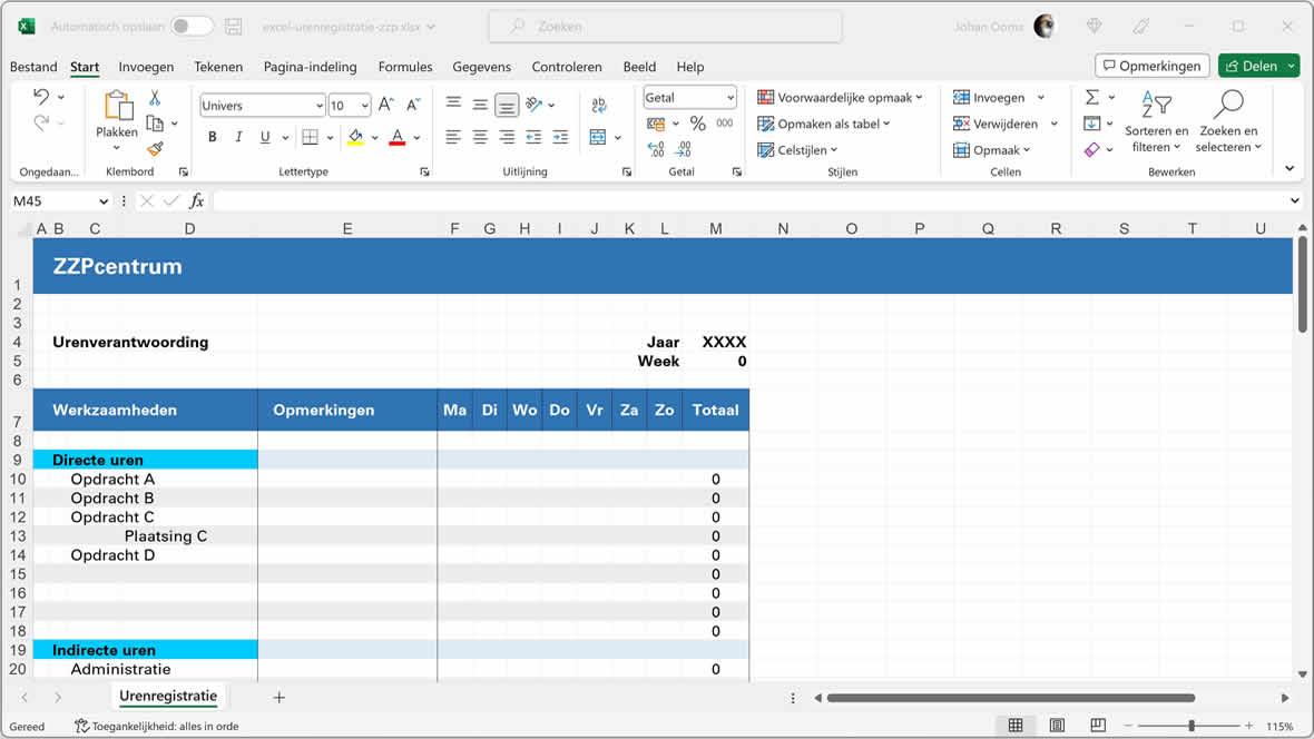 Voorbeeld gratis urenregistratie in Excel