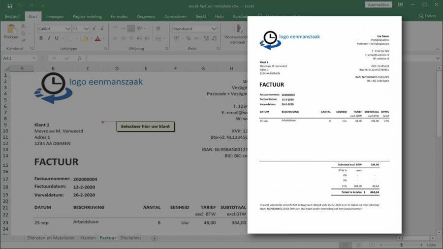Excel als factuur programma