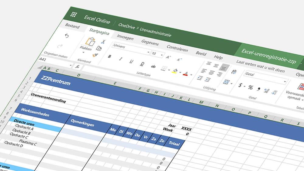 Gratis sjabloon voor urenregistratie in Excel Online