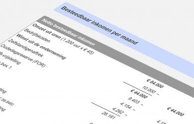 Voorbeeldberekening van netto besteedbaar inkomen zzp
